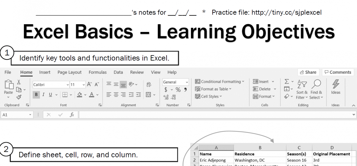 Excel Basics handout screenshot
